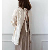 即納/back open ribbon blouse