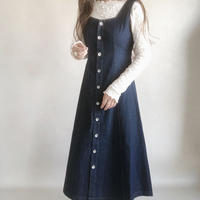 back ribbon design denim one-piece