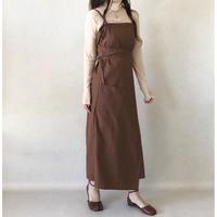 再入荷 wrap apron one-piece/ブラウン