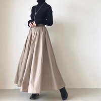タフタフレアマキシスカート/ライトベージュ