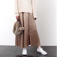 vintage satin pleats long skirt