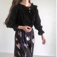 gauze frill collar blouse/ブラック