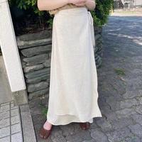 サイドリボンリネンラップ風スカート/ナチュラル