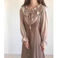 gauze frill collar blouse/ベージュ