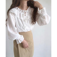 gauze frill collar blouse/ホワイト