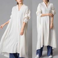 cotton linen A line shirt one-piece