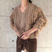 Vneck fringe knit