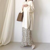 ペイズリープリントセミフレアロングスカート /オフホワイト