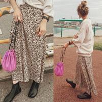 即納/leopard flare skirt