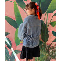 back gather denim jacket