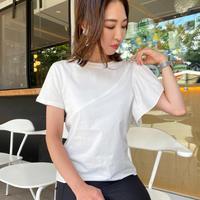 異素材切り替え袖フリルTシャツ