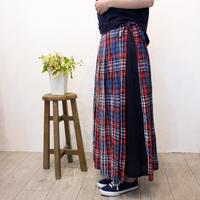 NATURALLAUNDRY(ナチュラルランドリー)リネンチェックパネルストライプスカート