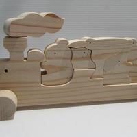 くまの汽車組み木