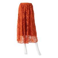 リボンモチーフシフォンレーススカート(オレンジ)