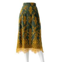 バイカラーレースナローラインスカート(グリーン)