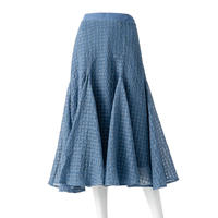 総刺繍シフォンサーキュラースカート(ブルー)