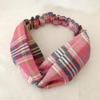 CROSS TURBAN /  Madras Check Pink