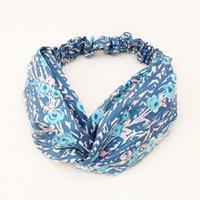 CROSS TURBAN /  Blue Gray Flower