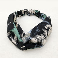 CROSS TURBAN /  Hawaiian Print Palm Tree Black