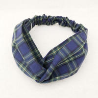 CROSS TURBAN / Flannel Check Blue