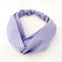 CROSS TURBAN /   Cotton Blue&Red Stripes