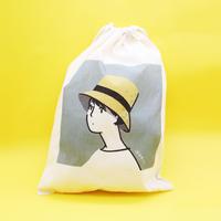 巾着袋(M)「麦わら帽子」
