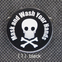 Mask&Wash Your Handsアクリルバッジ black・pink