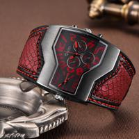 Oulm 腕時計 ユニーク 個性的 メンズ ダブルフェイス デュアルタイム クォーツ クラシック おしゃれ メンズウォッチ 選べる3色