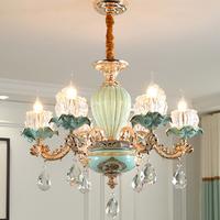 シャンデリア ヨーロッパスタイル 北欧 グリーン セラミック クリスタル ガラス リビング 寝室 ダイニング 照明 6ライト