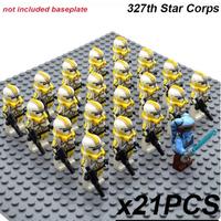 レゴ互換 スターウォーズ ミニフィグ 第327スターコープス 21体 第327星間兵団 ライトセーバー 銃 武器 トルーパー おもちゃ 人形 グッズ LEGO風