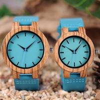 BOBO BIRD 木製腕時計 ユニセックス クォーツ レディース メンズ ボボバード ゼブラウッド インディゴブルー