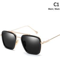JackJad トニースターク着用モデル サングラス UV400 Tony Stark アベンジャーズ メンズ スクエア型 紫外線99%カット ファンの方におすすめ ケース バッグ付き 選べる9色