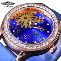 【2017】 T-WINNER レディース腕時計 蝶 スケルトン 手巻き 機械式 青 レザーバンド 海外トップブランド ダイアモンドのような輝き エレガント