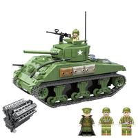 レゴ互換 戦車 SHERMAN (シャーマン) M4A1 ミニフィグ 4体 アメリカ軍 軍用車両 第二次世界大戦 戦争 軍隊 兵士 兵隊 ミリタリー LEGO風 知育 ブロック セット