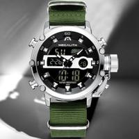 MEGALITH 大人気 多機能 防水 メンズ腕時計 丈夫 ナイロンベルト クロノグラフ 日付表示 発光 クォーツ デュアルスクリーン 海外高級ブランド