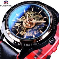 FORSINING 機械式 自動巻き 腕時計 メンズ スケルトン 本革バンド 3気圧防水