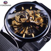 【FORSINING】 スケルトン 手巻き 機械式 メンズ 腕時計 3気圧防水 メッシュベルト ルミナスハンズ 海外トップブランド 3色