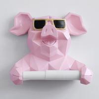 【トイレットペーパーホルダー】 豚 樹脂製 壁掛け式 3色 かわいい ぶた トイレ・洗面所 【ロールペーパーホルダー】