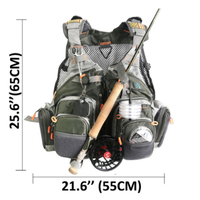 MAXIMUMCATCH フライフィッシングベスト 釣り アウトドア キャンプ 登山 メッシュ 便利なポケット 調節可能 軽量 フリーサイズ 多機能 アーミーグリーン 緑
