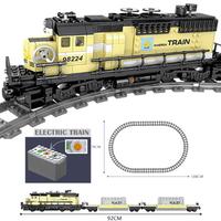 レゴ互換 貨物列車 レールセット 電池式 電車 列車 動く トレイン シティ LEGO風 ブロックセット 知育玩具 92cm