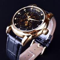 【海外トップブランド】 T-WINNER ダイヤモンドデザイン スケルトン メンズ腕時計 自動巻き 機械式 ルミナスハンズ 高級 【選べる3色】