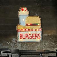 【ネオンライト】 ハンバーガー ショップ ファストフード店 ネオンサイン 【映画館にも】