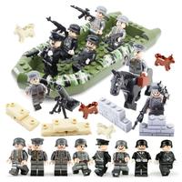 レゴ特殊部隊 レゴ互換品 ボート 船 馬 動物 軍隊 兵隊 兵士 銃 ミリタリー 戦闘 LEGO風 ミニフィグ 8体 ブロックセット