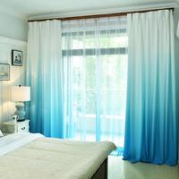 遮光カーテン グラデーション ブルー 明るい 遮光率75% 半遮光 寝室 リビング 勉強 仕事部屋 おしゃれ 爽やか 青色 W150xL250cm★