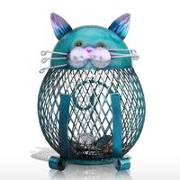 Tooarts 猫 貯金箱 ボックス 金属製 美しい 青 芸術的 メッシュ 網 コイン入れ 動物 ねこ 置物 オブジェ 装飾品 工芸品 手作り プレゼントにも