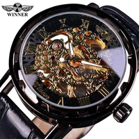 【T-WINNER】 メンズ腕時計 スケルトン 機械式 手巻き ローマ数字の文字盤 レザーバンド レトロ 発光 ルミナスハンズ 海外トップブランド 4色から選択可能