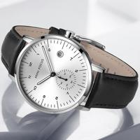 【海外高級ブランド】 MINIFOCUS メンズ腕時計 3気圧防水 本革ベルト クォーツ 日付表示 シンプル 【選べる3色】