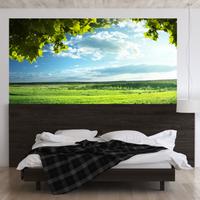 90cm×180cm ウォールステッカー 草原 木 空 雲 3D 風景 寝室 ベッドルーム 勉強 子供部屋インテリア リビング ダイニング DIY 青色 緑 壁紙 シール はがせる 防水