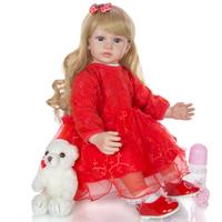 リボーンドール 女の子 本体+服+ウィッグ+おもちゃ付き ベビードール トドラー人形 赤い衣装 リアル 本物そっくり 抱っこ 癒し 60cm