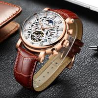 【海外高級ブランド】 KINYUED メンズ腕時計 スケルトン 自動巻き 機械式 トゥールビヨン ムーンフェイズ 防水 日付表示 レザーバンド ビジネス 【選べる2色】